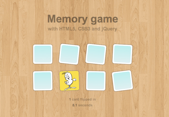 Memory game with html5 and css3